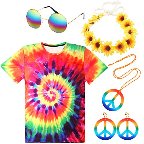Aneco 5 Pack Hippie Costume Set Colorful 60's Costumes Tie-Dye T-Shirts Sunglasses Necklace ()