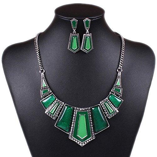 D.B.MOOD Amber Like Geometric Tribal Tibet Silver Bib Choker Necklace Earrings Set Green - Green Necklace Set For Women