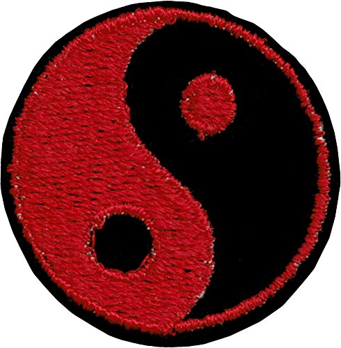 - Red & Black Yin Yang Iron Sew On Patch / Applique