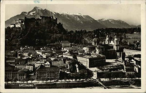 View of City and Castle Salzburg, Austria Original Vintage Postcard