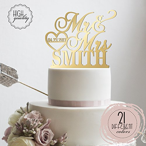 Personalized wedding cake topper amazon personalized wedding cake topper mr mrs heart customized wedding date and last name to be bride groom mirrored cake toppers junglespirit Images