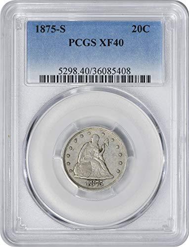 1875 S Twenty Cent Piece EF40 PCGS