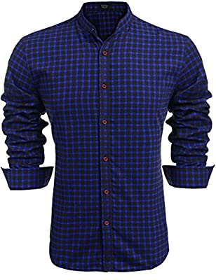Coofandy Men's Plaid Casual Button Down Shirt Long Sleeve Stand Collar Dress Shirts