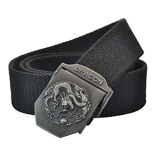 Ayliss Men's Canvas Web Belt Tactical Belt Dragon Design Stainless Steel Buckle,Black