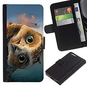 Protector de cuero de la PU de la cubierta del estilo de la carpeta del tirón BY RAYDREAMMM - Apple Iphone 6 PLUS 5.5 - DIVERTIDO FRIENDLY OWL