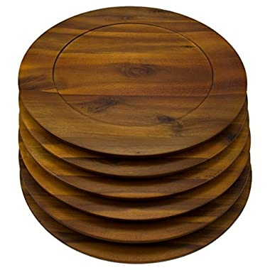 6 Pack Round 13 Inch Wooden Charger Plates B. Smith Solid Acacia Dinner Servers Set
