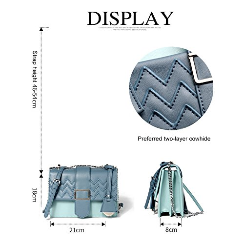 Chain Blocking Chic Handbags Women Clutch with Satchel Pattern Crossbody Pink Color Yoome Cowhide Wave Blue q4vnw8vx
