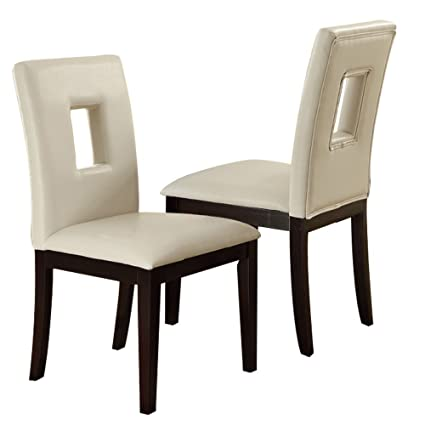 4cc51f398bb9 Amazon.com - Poundex PDEX-F1052 Dining Chairs White - Chairs