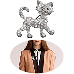 Fashion Cat Pin - Women Punk Rhinestone Brooch Pin - Inlaid Crystal Animal Breastpin - Vintage Elegant Hat Sweater Pin - Catch Scarf or Lapel - Unique Alloy Dress Decor with White Diamond Silver Cat