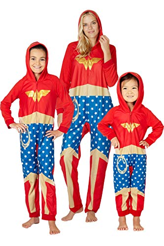 Wonder Woman 'Wonder Ready' One Piece Costume Pajama Set, Red, 14/16 -