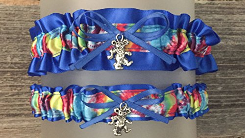 SEXY Royal Blue Tie Dye Wedding Bridal Garter Set - Dead Head Bear Charm -