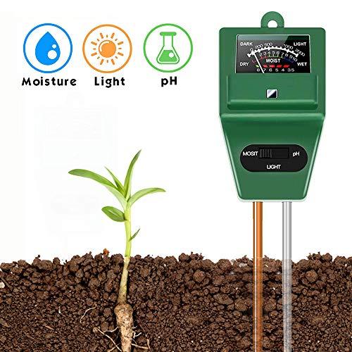 SubClap Soil Test Kit 3-in-1 Moisture Sunlight pH Meter, Soil Sensor Tester Tool Tester Water Light pH for Plants/Vegetables/Garden/Lawn/Farm