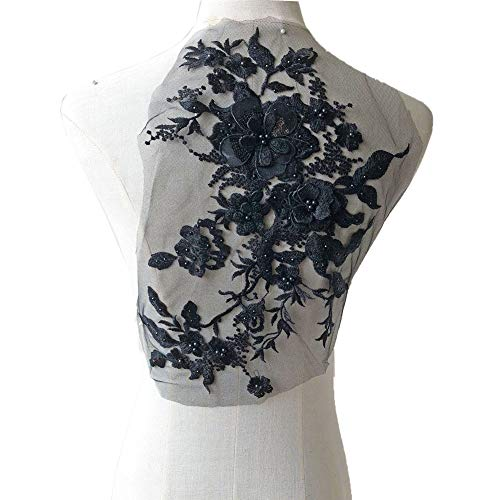 - Blossom 3D Flower Applique, Beaded Sequins Flower LACE Patch Bridal Wedding Dress Embossed Beading Embroidery lace Appliques Motif Sewing Craft (Black)