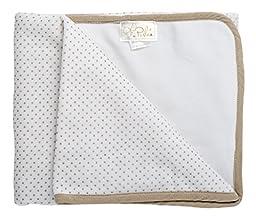 Perlee Newborn Baby Boys Cotton Velour Polka Dotted Swaddle Receiving Blanket - Beige