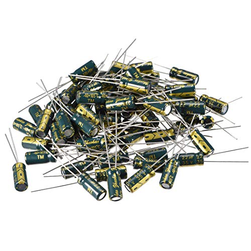uxcell Aluminum Radial Electrolytic Capacitor Low ESR Green with 22uF 35V 105 Celsius Life 3000H 5 x 11 mm High Ripple Current,Low Impedance 80pcs ()