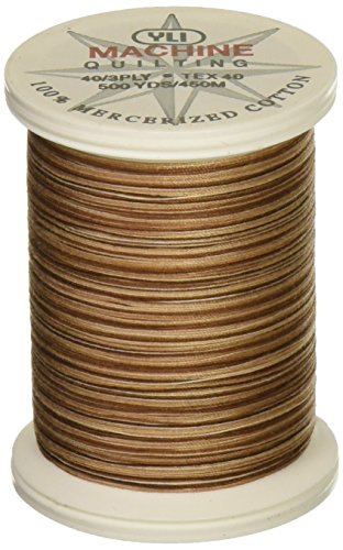 YLI 24450-V83 3-Ply 40wt T-40 Cotton Quilting Variegated Thread, 500 yd, Caffe Romano (Thread Yli Quilting)