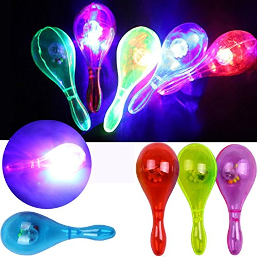 Livoty LED Flashing Percussion Musical Maracas Instruments Sand