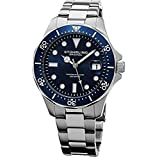 Stuhrling Original Men's Aquadiver Dive Quartz Analog Waterproof Sports Blue Dial Wrist Watch Bracelet with Stainless Steel
