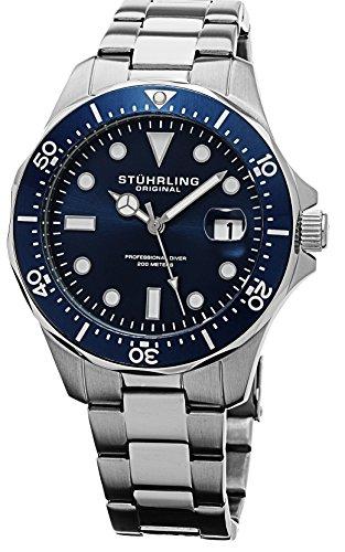 Dive Dial Seal Watch Blue (Stuhrling Original Men's Aquadiver Dive Quartz Analog Waterproof Sports Blue Dial Wrist Watch Bracelet with Stainless Steel)