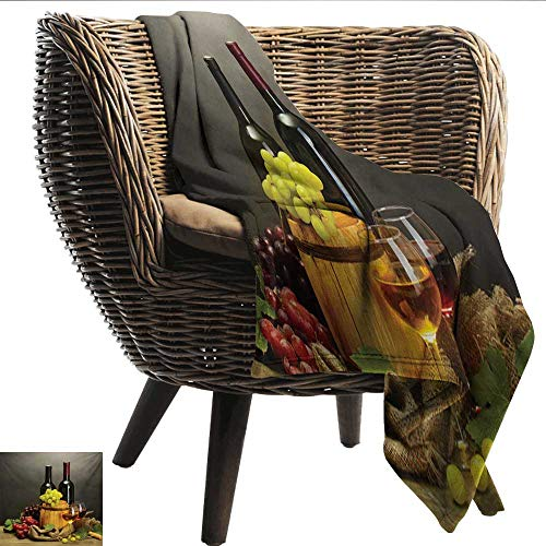(Winery Baby Blanket Barrel Bottles and Glasses of Wine and Ripe Grapes on Wooden Table Picture Print Recliner Throw,Couch Throw, Couch wrap 60