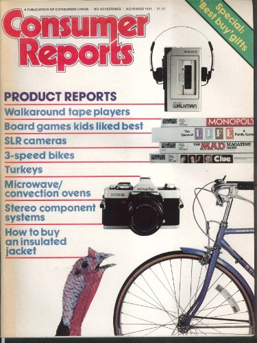 CONSUMER REPORTS Bikes Tape players SLR Cameras Microwave ovens + 11 1981