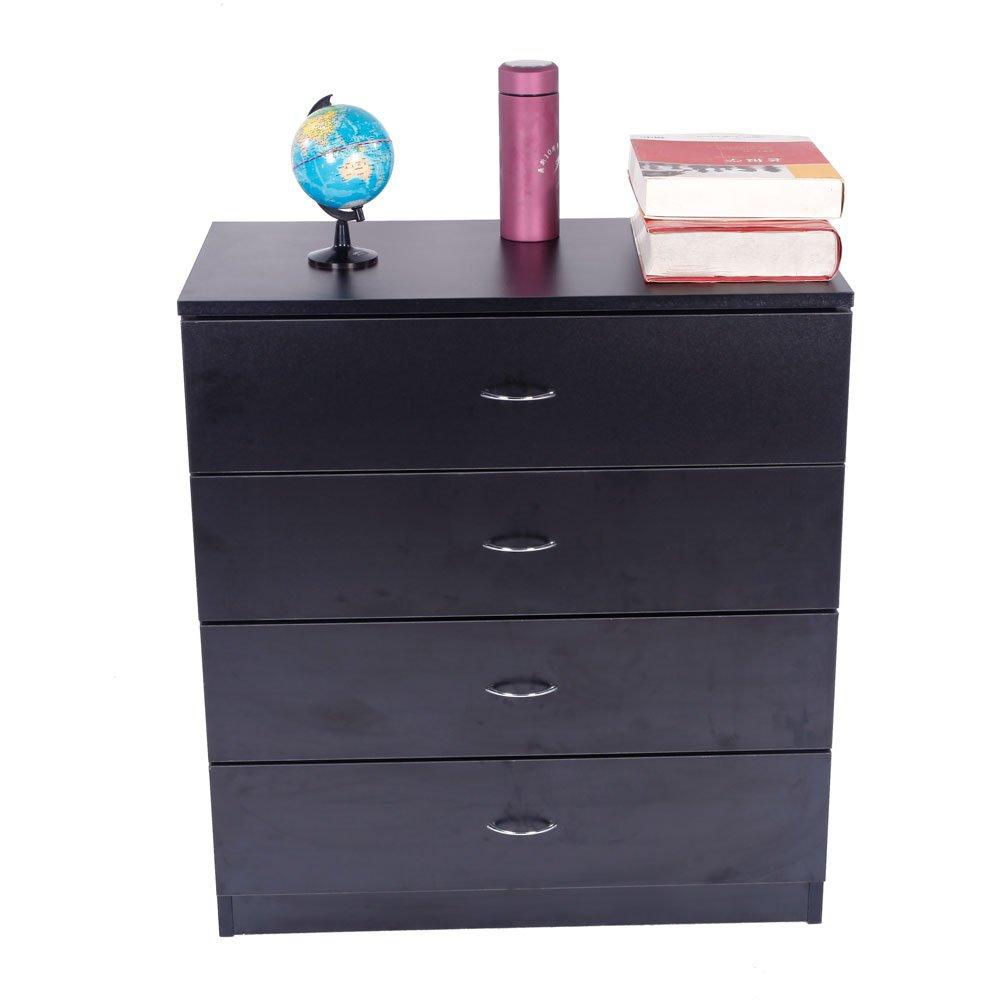 Dresser Bedroom Storage Chest Drawer Modern Wood Furniture White (4-Drawer, Black) by Lykos (Image #3)