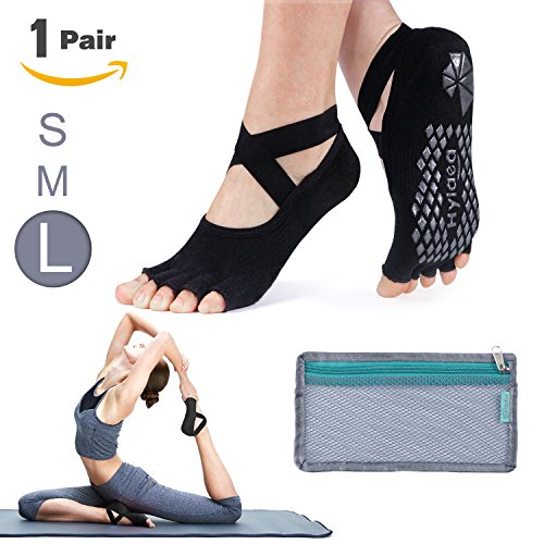 Hylaea Slip Yoga Pilates Socks with Grips Toeless Cotton for Women Black Size L