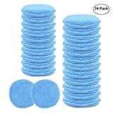 Carcarez Wax Hand Polish Microfiber Applicator Pad for Automotive Car, Blue (24 Pack)