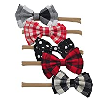 Baby Headbands Bows Nylon elastic Girl Toddler Kids Hair Accessories Photography Prop(5pcs Double Plaid Bow)