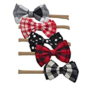 Baby Headbands Nylon Hair Bows for Girls Toddler Kids Flower Elastic Hair Accessories Set Photography Prop (5pcs Double plaid bow)