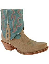 Twisted X Boots Womens WSOC002,Dusty Tan/Ocean Blue Leather,US 7.5 B