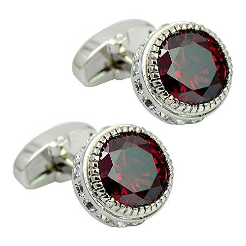 Daptsy Luxury Round Engraved red Crystal Cufflinks, Rhinestone Whale Back Cufflinks, Elegant Shiny Cufflinks