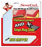 Rug Gripper with NeverCurl - Instantly Flattens Rug Corners AND Stops Rug Slipping. Uses Renewable Sticky Gel. 4 Pieces. Patent Pending by NeverCurl by StepNGrip