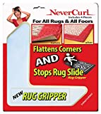 "Rug Gripper with NeverCurl Includes 4 ""V"" Shape Corners - Patent Pending. Instantly Flattens Rug Corners AND Stops Rug Slipping. Uses Renewable Sticky Gel. By NeverCurl"