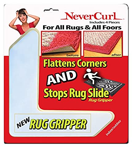 Rug Gripper with NeverCurl - Instantly Flattens Rug Corners AND Stops Rug Slipping. Uses Renewable Sticky Gel. Rug Anchor. Rug Pad. 4 Pieces. Patent (On Amazon Premium Dry)