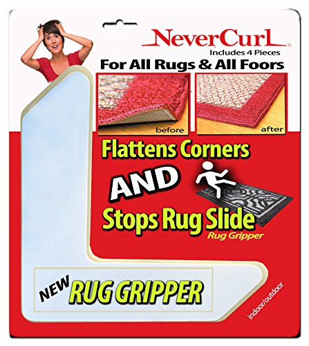 Rug Gripper with NeverCurl - Instantly Flattens Rug Corners AND Stops Rug Slipping. Uses Renewable Sticky Gel. 4 Pieces. Patent Pending by NeverCurl