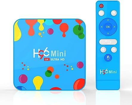 MeterMall Azul H96 Mini H6 TV Box Reproductor de Red Android 9.0 4GB + 128GB 6K TV Box con Control Remoto: Amazon.es: Electrónica
