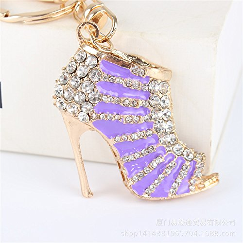 Toned Crystal Rhinestone (Crystal Rhinestone Diamante Gold Toned High Heel Shoe Decoration Chain for Phone Car Bag Key Ring keychain Charm Gift - Perfect for Women Ladies Girls' Phone Key Bag)