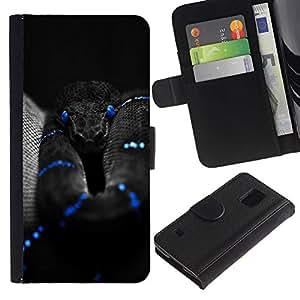 KLONGSHOP / Tirón de la caja Cartera de cuero con ranuras para tarjetas - Black Snake Blue Mamba Nature Poison - Samsung Galaxy S5 V SM-G900