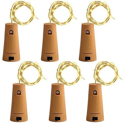 6 PCS 75cm Corcho Micro Luces LED para Botella de Vino,GZQES,Luz de la Secuencia del Alambre de Cobre del Corcho,Lampara DIY Boda Regalo o Noche Luces,Luz Botella de Vino Tapon,Color Blanco Ca