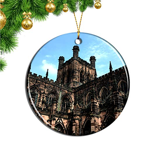 Hqiyaols Ornament UK England Chester Cathedral Christmas Ornaments Ceramic Sheet Souvenir Travel Gift Collection Tree Door Window Ceiling Pendant Decorative (Christmas Chester Uk)