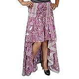 Mogul Interior Womens Skirt 70`s Vingate Recycled Hi Low Silk Skirts