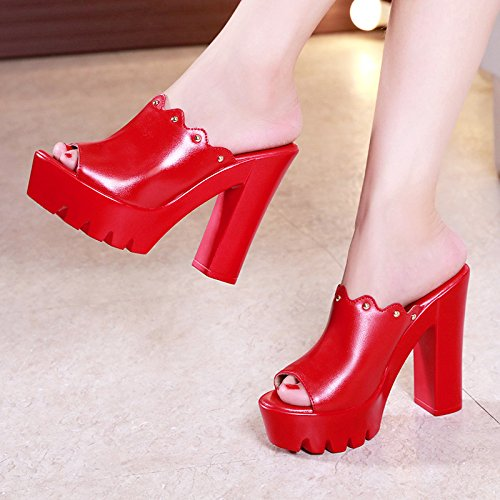 signore moda pelle bocca scarpe Estate pesce casual tacco red tacchi alti confortevole sposa da YMFIE alto partito banchetto in pantofole zqfSzx