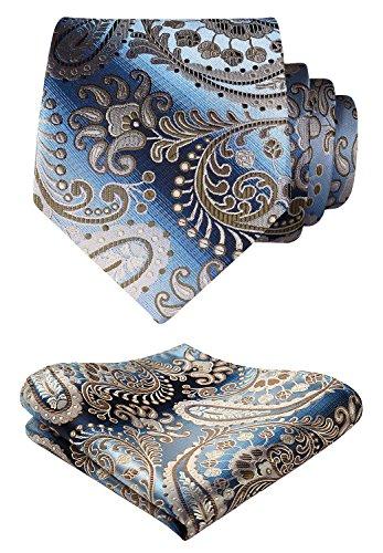 Necktie Brown Paisley Design - HISDERN Floral Paisley Wedding Tie Handkerchief Woven Classic Men's Necktie & Pocket Square Set Brown & Blue