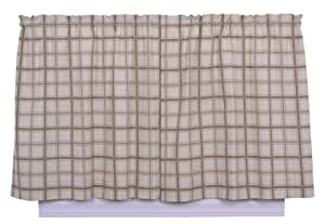 Logan Large Scale Plaid Tailored Tier Curtains, 68-Inch-by-24 Inch, Linen