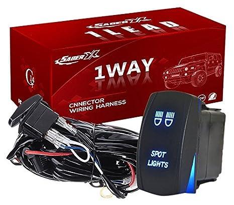 saber x 1 lead tahoe led offroad light bar wiring harness kit 14 gauge, spdt