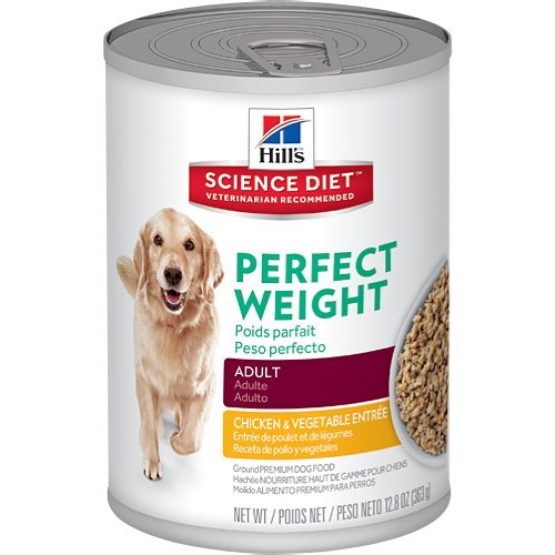 Hill's Science Diet Adult Perfect Weight Wet Dog Food, Chicken & Vegetable Entrée Canned Dog Food for healthy weight and weight management, 12.8 oz, 12 Pack