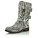 DailyShoes Women's Combat Boots Ankle Mid Calf Low Heel Lace Up Zip Pocket Buckle Bootie Round Toe Stacked Back Zipper Knee High Exclusive Credit Card Zebra,pu,6.5