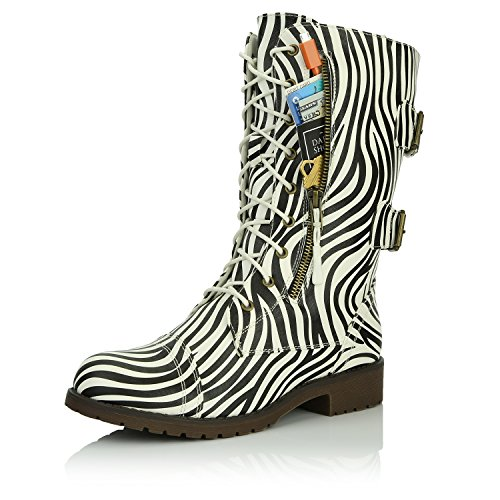 DailyShoes Women's Combat Bootie Ankle Mid Calf Low Heel Lace Up Zip Pocket Buckled Booties Zipper Round Toe Mother Plush Comfortables Knee High Exclusive Credit Card Boots - Pocket Zebra Print Front
