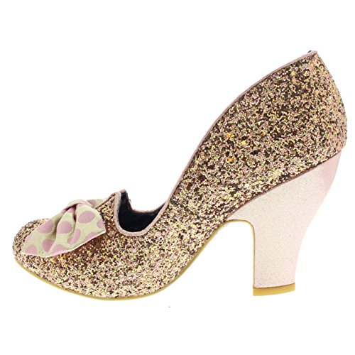 Womens Irregular Choice Nick Of Time Glitter Bow Court Shoes Mid Heels Gold 8QfJPZ